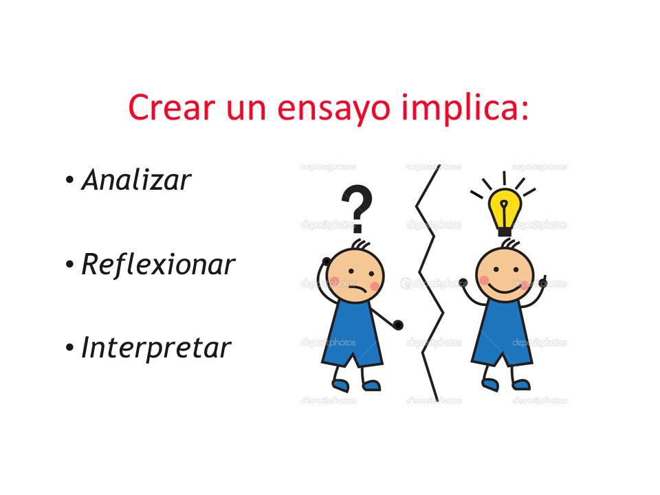Crear un ensayo implica: Analizar Reflexionar Interpretar