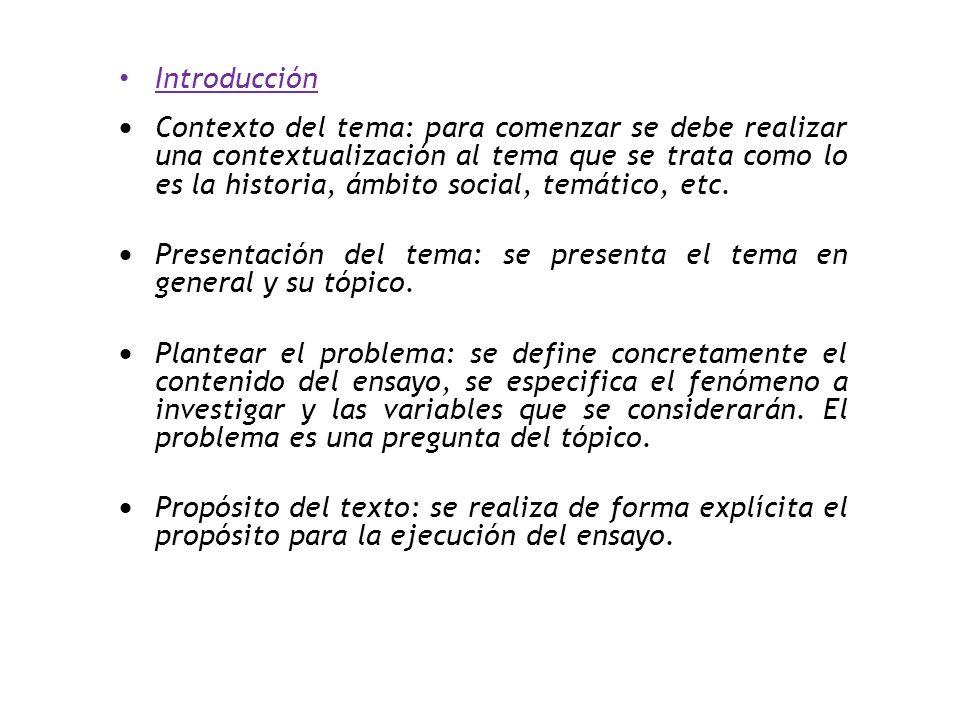 Introducción  Contexto del tema: para comenzar se debe realizar una contextualización al tema que se trata como lo es la historia, ámbito social, temático, etc.