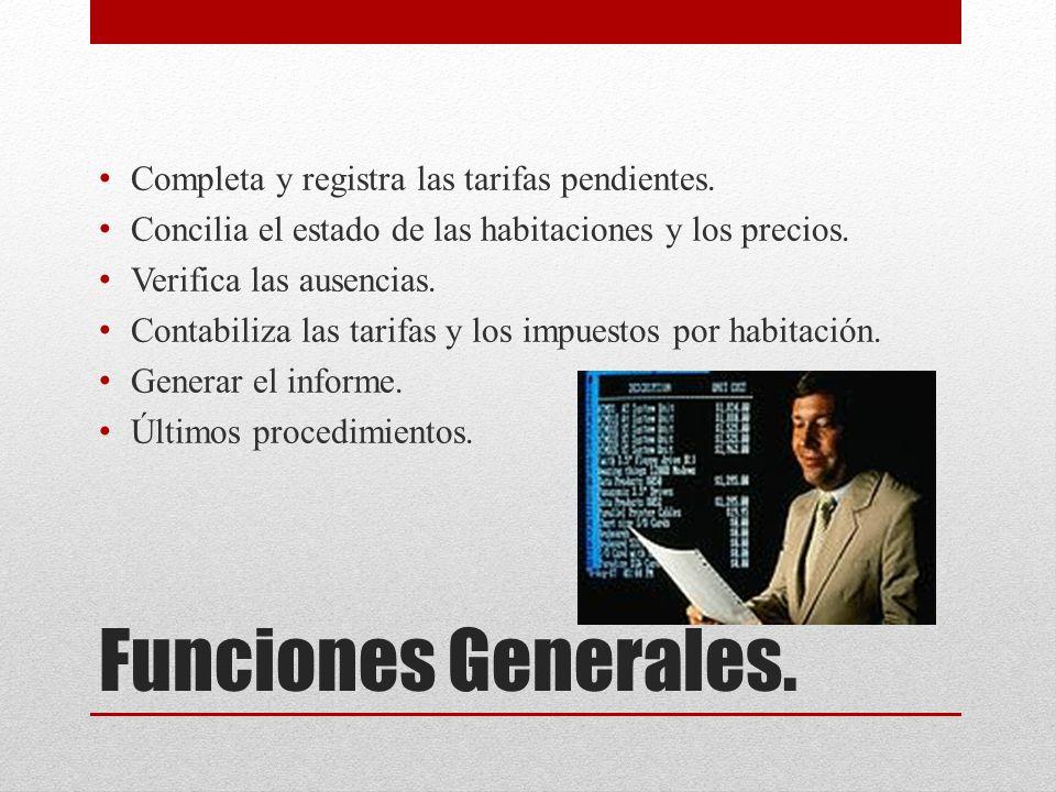 Funciones Generales. Completa y registra las tarifas pendientes.