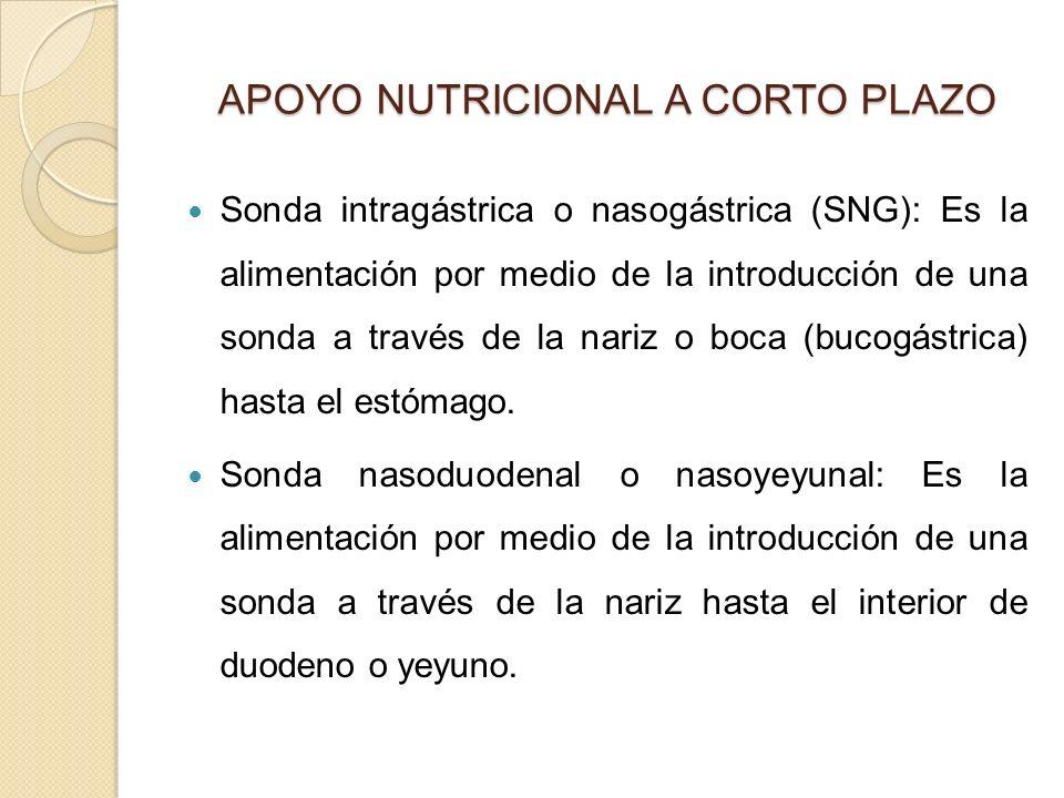 APOYO NUTRICIONAL A CORTO PLAZO APOYO NUTRICIONAL A CORTO PLAZO Sonda intragástrica o nasogástrica (SNG): Es la alimentación por medio de la introducción de una sonda a través de la nariz o boca (bucogástrica) hasta el estómago.