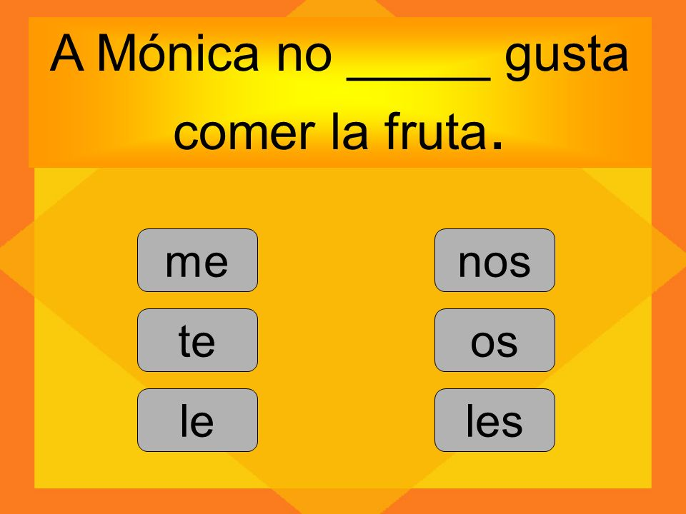 A Mónica no _____ gusta comer la fruta. me te le nos os les