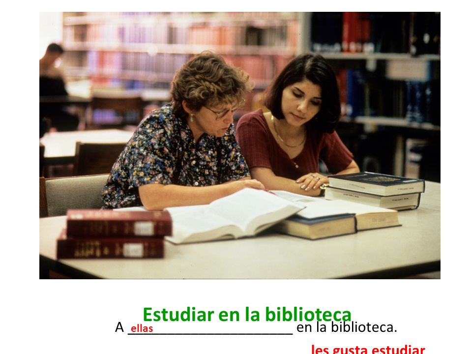 Estudiar en la biblioteca A _____________________ en la biblioteca. les gusta estudiar ellas