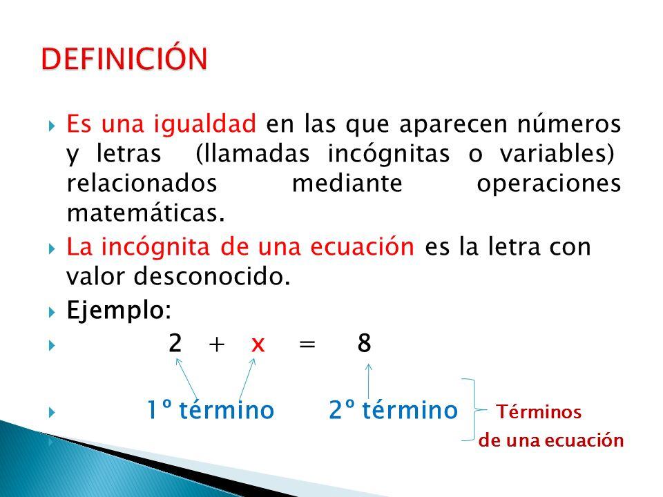  Es una igualdad en las que aparecen números y letras (llamadas incógnitas o variables) relacionados mediante operaciones matemáticas.