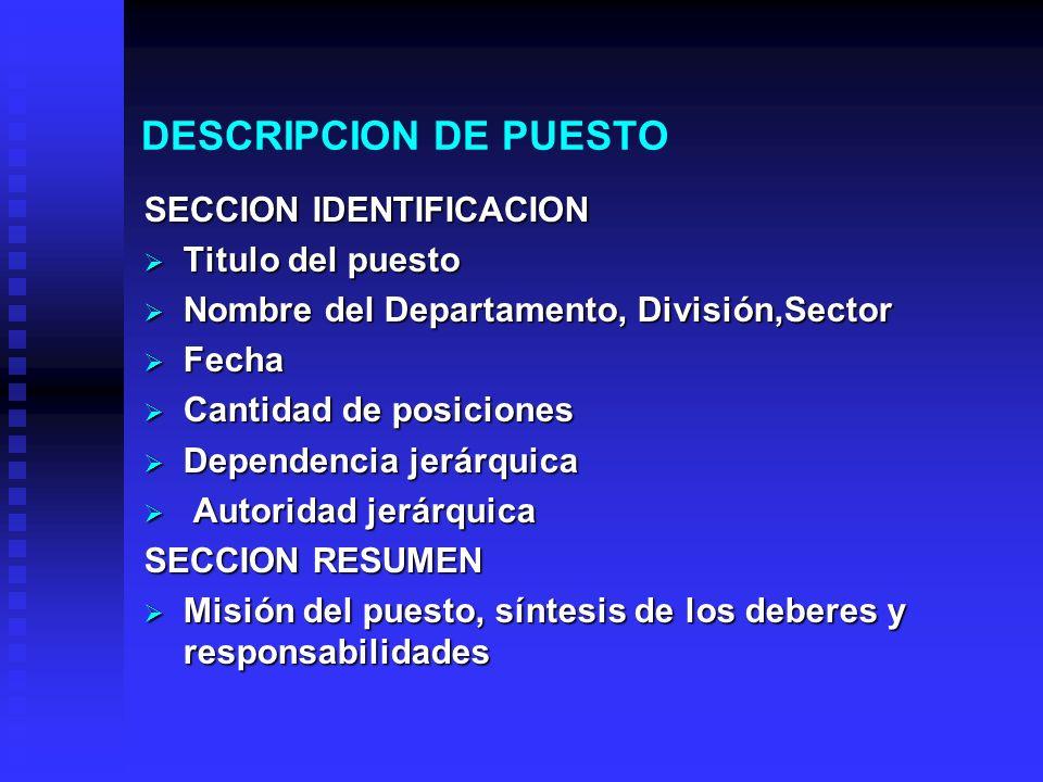 ANALISIS DE PUESTOS. CONTRIBUCION DE LOS PUESTOS  Define las ...