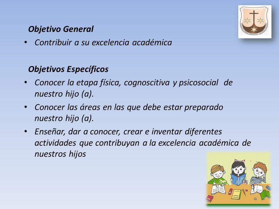 Objetivo General Contribuir a su excelencia académica Objetivos Específicos Conocer la etapa física, cognoscitiva y psicosocial de nuestro hijo (a).