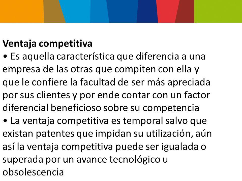 Una compañía posee una ventaja competitiva cuando su índice de utilidades mayor que el promedio de la industria Elementos para el logro de una V.C.