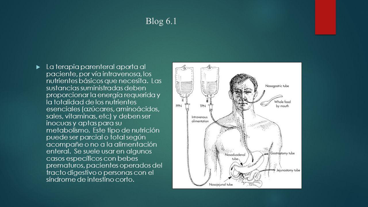 Blog 6.1  La terapia parenteral aporta al paciente, por vía intravenosa, los nutrientes básicos que necesita.