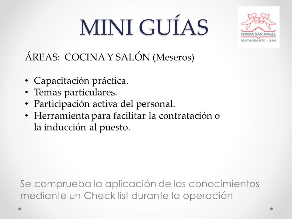 MINI GUÍAS Se comprueba la aplicación de los conocimientos mediante un Check list durante la operación ÁREAS: COCINA Y SALÓN (Meseros) Capacitación práctica.