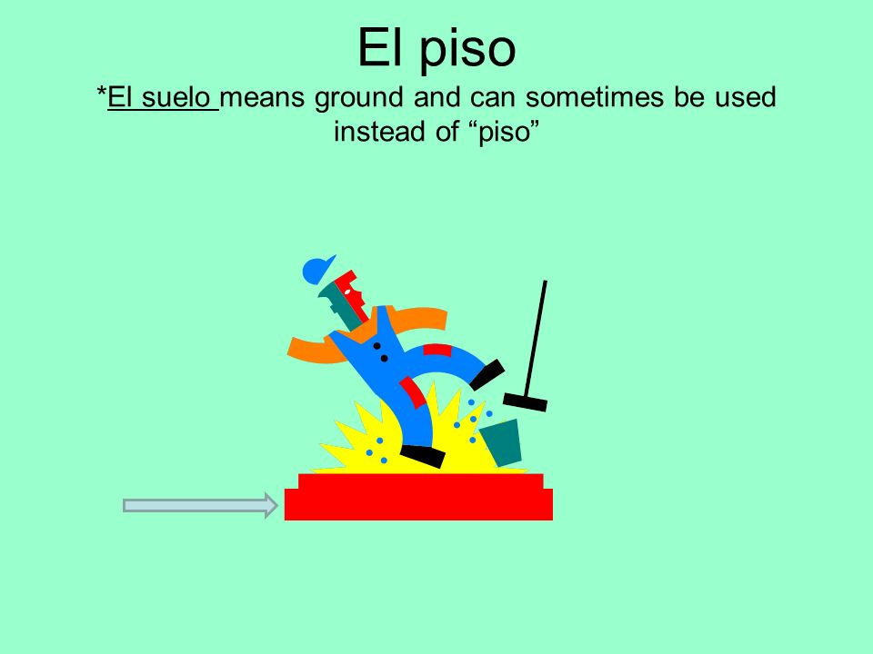 El piso *El suelo means ground and can sometimes be used instead of piso