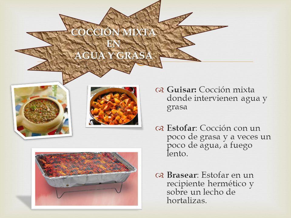 COCCIÓNENGRASA  Saltear : Pasar el alimento por la sartén, con poco aceite y a fuego muy fuerte.