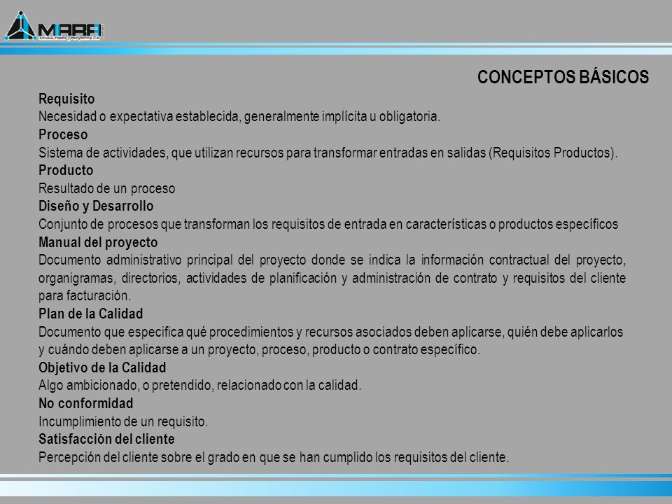 Conocer Conceptos Básicos de Calidad y como se desarrolla el Control del Diseño en los Proyectos de MARA Consultores y Proyectos C.A.