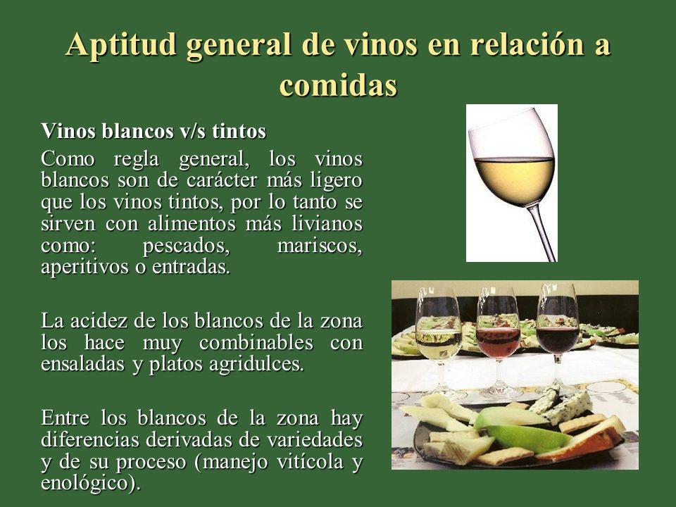 Aptitud general de vinos en relación a comidas Vinos blancos v/s tintos Como regla general, los vinos blancos son de carácter más ligero que los vinos tintos, por lo tanto se sirven con alimentos más livianos como: pescados, mariscos, aperitivos o entradas.