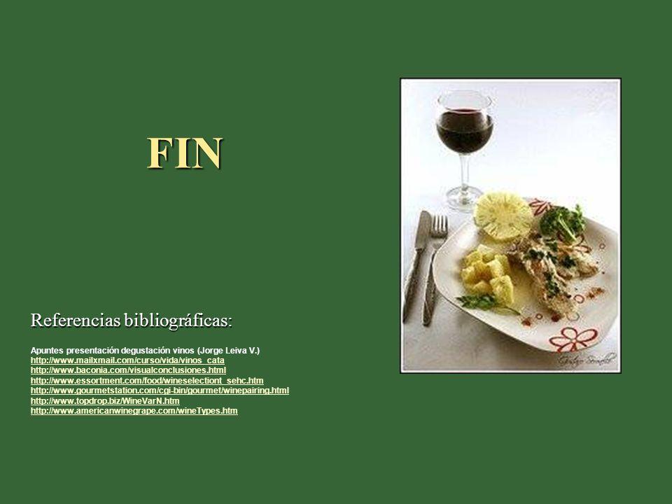 FIN Referencias bibliográficas: Apuntes presentación degustación vinos (Jorge Leiva V.) http://www.mailxmail.com/curso/vida/vinos_cata http://www.baco