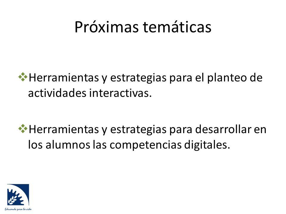 Próximas temáticas  Herramientas y estrategias para el planteo de actividades interactivas.