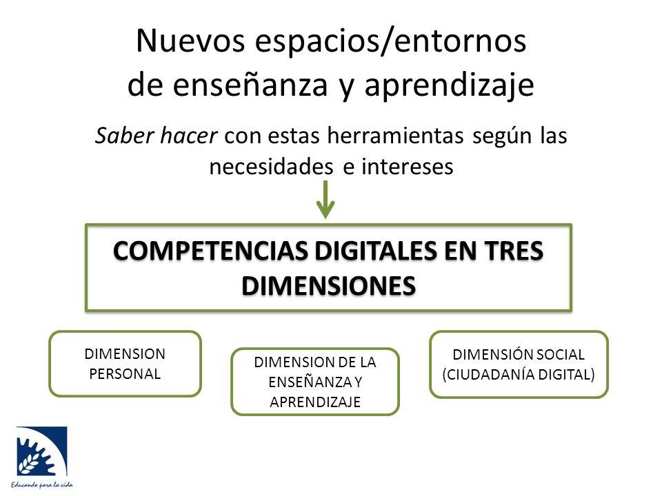 Nuevos espacios/entornos de enseñanza y aprendizaje Saber hacer con estas herramientas según las necesidades e intereses COMPETENCIAS DIGITALES EN TRES DIMENSIONES DIMENSION PERSONAL DIMENSION DE LA ENSEÑANZA Y APRENDIZAJE DIMENSIÓN SOCIAL (CIUDADANÍA DIGITAL)