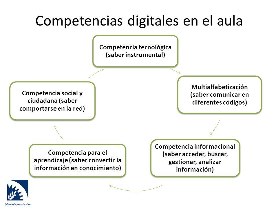 Competencias digitales en el aula Competencia tecnológica (saber instrumental) Multialfabetización (saber comunicar en diferentes códigos) Competencia informacional (saber acceder, buscar, gestionar, analizar información) Competencia para el aprendizaje (saber convertir la información en conocimiento) Competencia social y ciudadana (saber comportarse en la red)