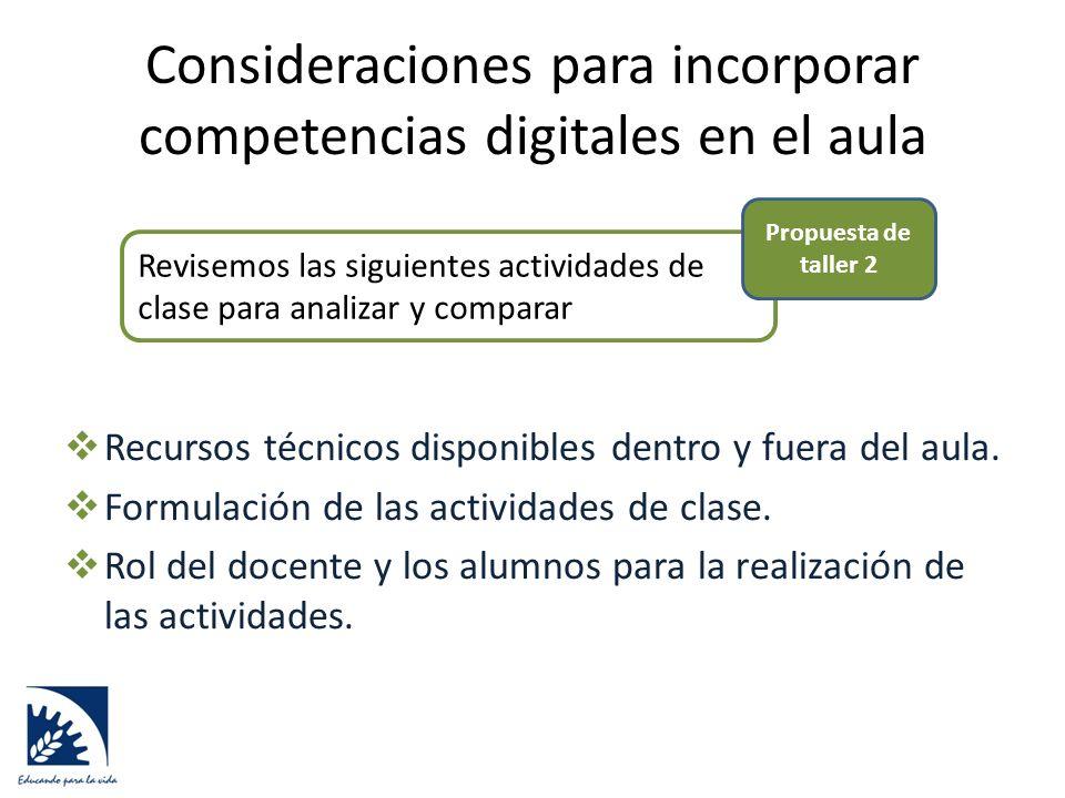 Consideraciones para incorporar competencias digitales en el aula  Recursos técnicos disponibles dentro y fuera del aula.