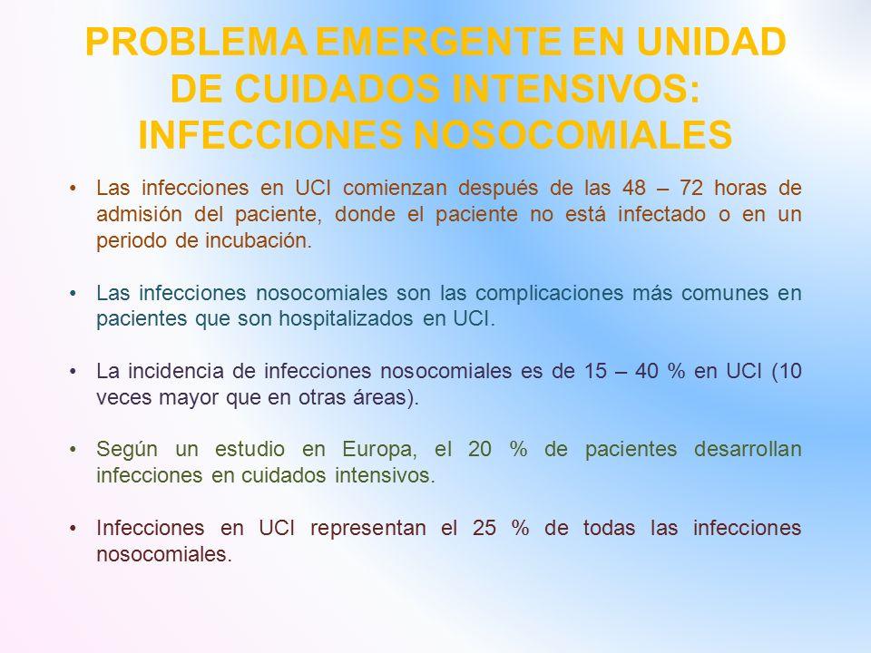 PROBLEMA EMERGENTE EN UNIDAD DE CUIDADOS INTENSIVOS: INFECCIONES NOSOCOMIALES Las infecciones en UCI comienzan después de las 48 – 72 horas de admisión del paciente, donde el paciente no está infectado o en un periodo de incubación.