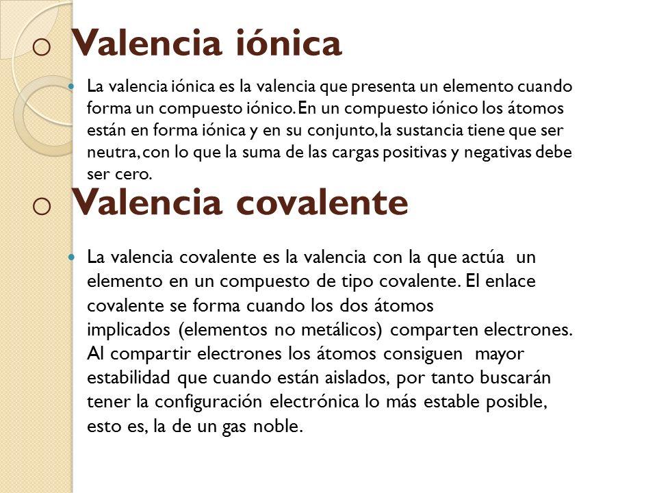 o o valencia covalente la valencia inica es la valencia que presenta un elemento cuando forma un - Tabla Periodica Con Valencias Positivas Y Negativas
