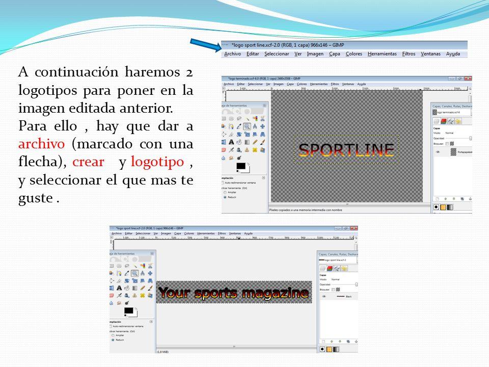 Para poder insertar los 2 logotipos en la primera imagen, hay que dar al botón derecho del ratón, dar a editar,y después a copiar el logotipo A continuación vuelves a la primera imagen vuelves a dar al botón derecho, a editar, pero esta vez das a pegar como y después a capa nueva o new layer.
