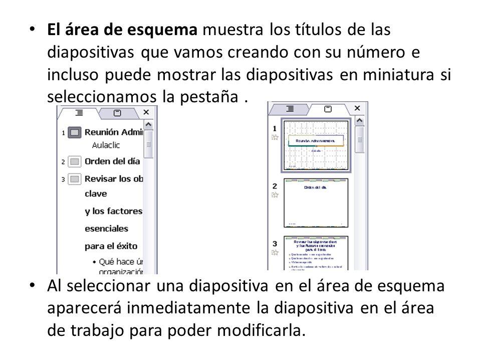 El área de esquema muestra los títulos de las diapositivas que vamos creando con su número e incluso puede mostrar las diapositivas en miniatura si seleccionamos la pestaña.