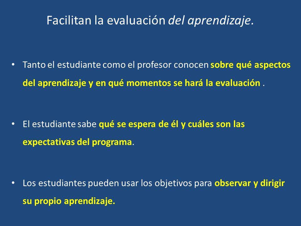 Facilitan la evaluación del aprendizaje.