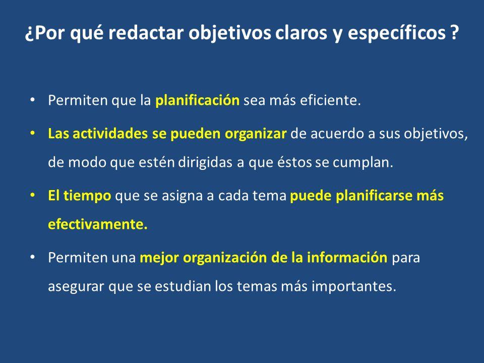 ¿Por qué redactar objetivos claros y específicos .