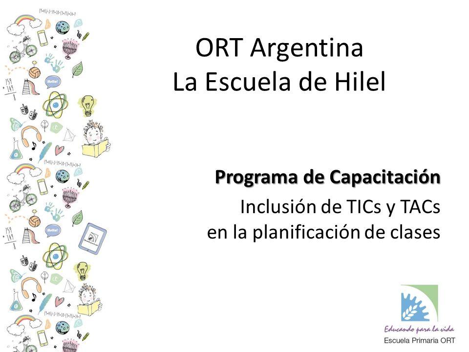 ORT Argentina La Escuela de Hilel Programa de Capacitación Inclusión de TICs y TACs en la planificación de clases