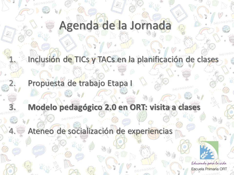 Agenda de la Jornada 1.Inclusión de TICs y TACs en la planificación de clases 2.Propuesta de trabajo Etapa I 3.Modelo pedagógico 2.0 en ORT: visita a clases 4.Ateneo de socialización de experiencias