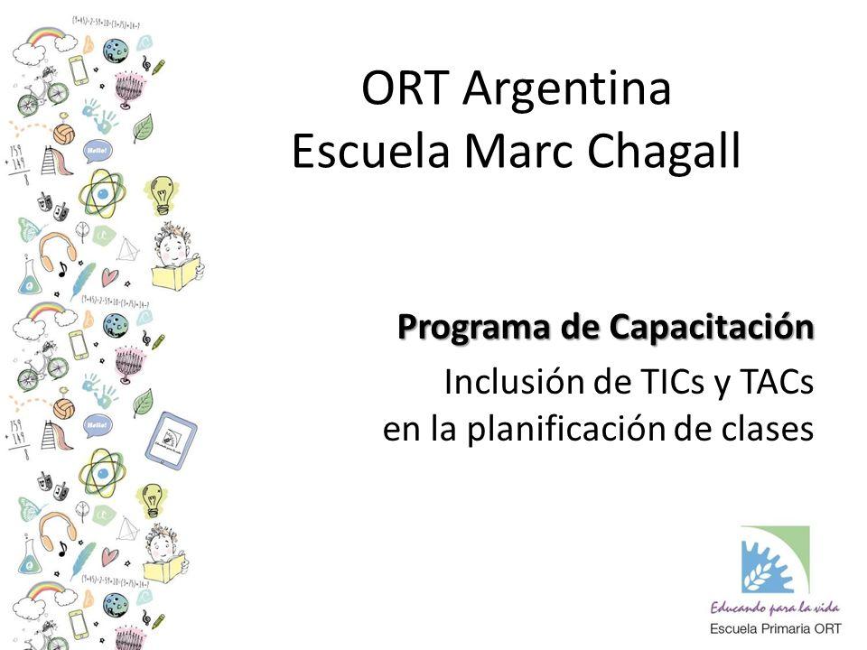 ORT Argentina Escuela Marc Chagall Programa de Capacitación Inclusión de TICs y TACs en la planificación de clases