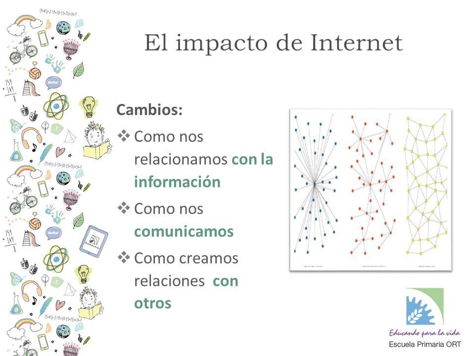 Cambios:  Como nos relacionamos con la información  Como nos comunicamos  Como creamos relaciones con otros