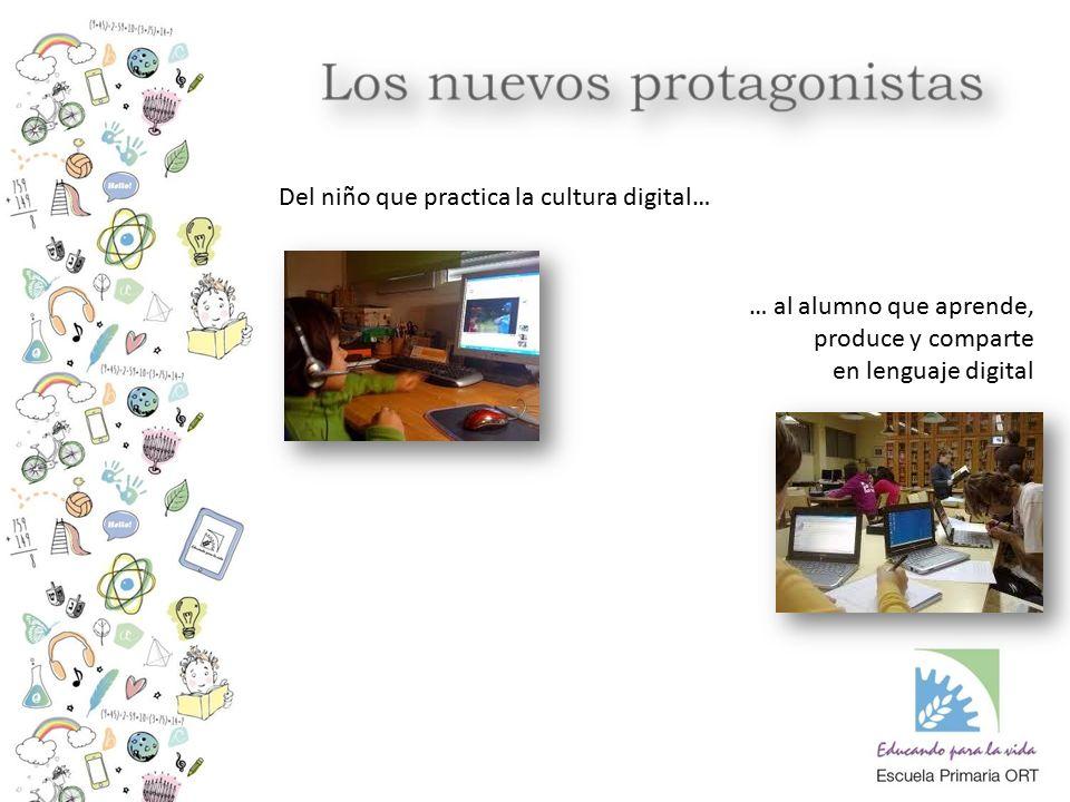 Del niño que practica la cultura digital… … al alumno que aprende, produce y comparte en lenguaje digital