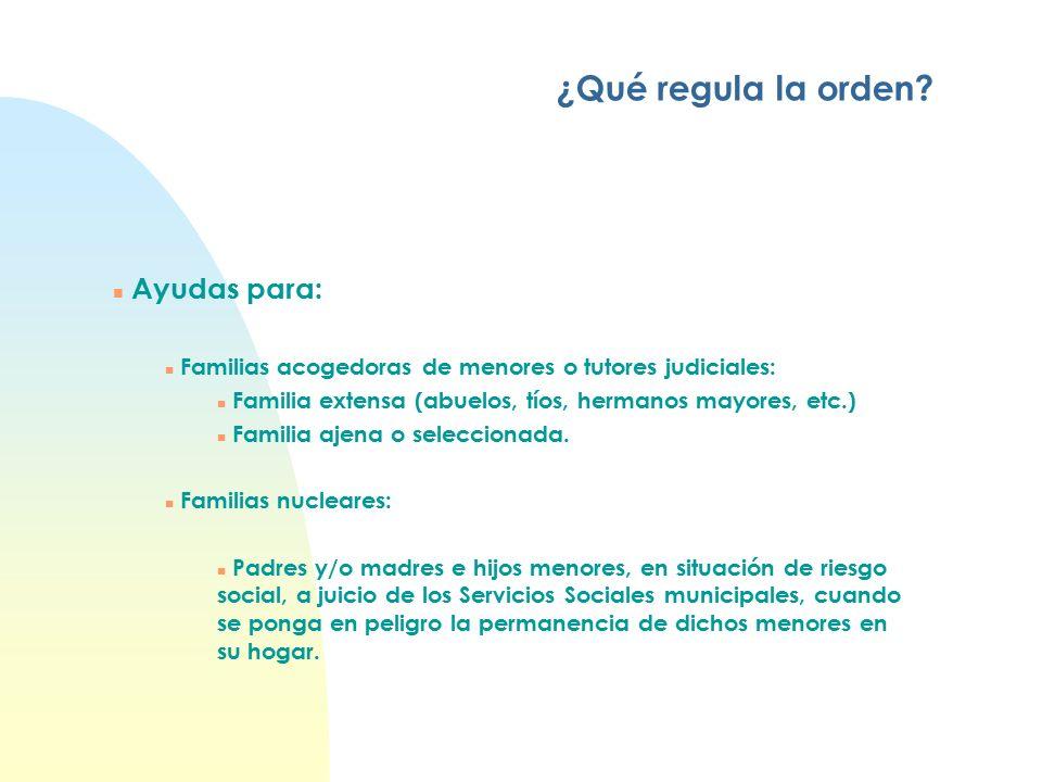 n Ayudas para: n Familias acogedoras de menores o tutores judiciales: n Familia extensa (abuelos, tíos, hermanos mayores, etc.) n Familia ajena o seleccionada.