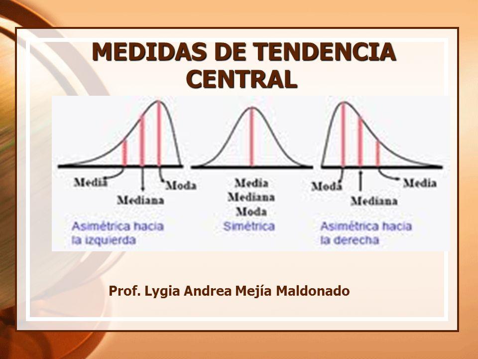 MEDIDAS DE TENDENCIA CENTRAL MEDIDAS DE TENDENCIA CENTRAL Prof. Lygia Andrea Mejía Maldonado