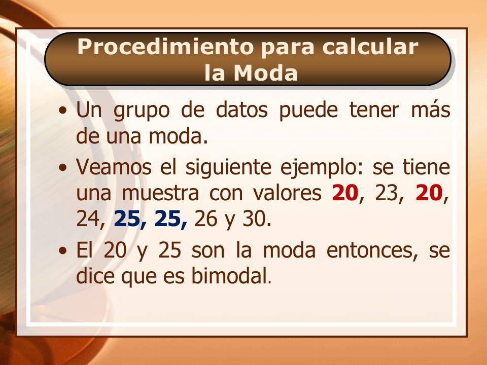 Procedimiento para calcular la Moda Se ha obtenido una muestra con los valores de datos: 27, 25, 27, 30, 20 y 26.