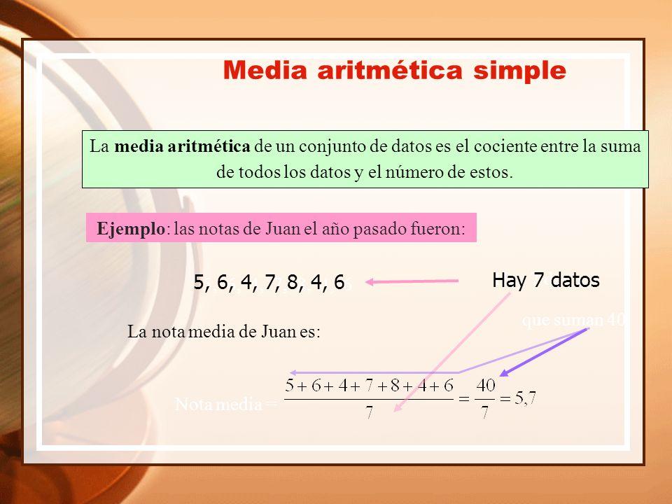 La media aritmética de un conjunto de datos es el cociente entre la suma de todos los datos y el número de estos.