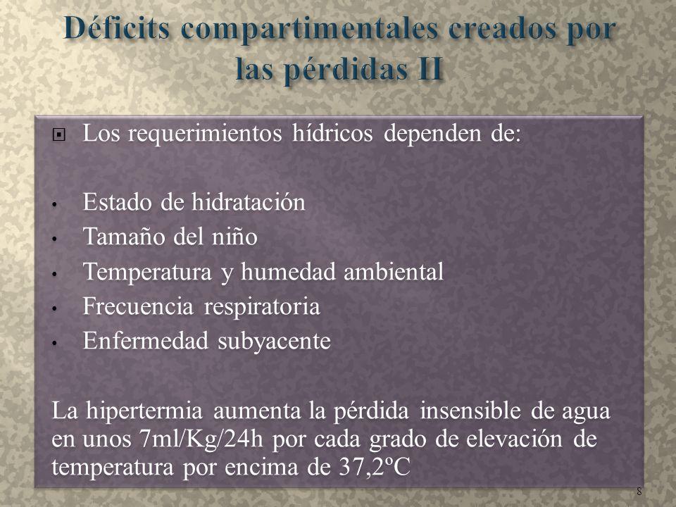  Los requerimientos hídricos dependen de: Estado de hidratación Tamaño del niño Temperatura y humedad ambiental Frecuencia respiratoria Enfermedad su