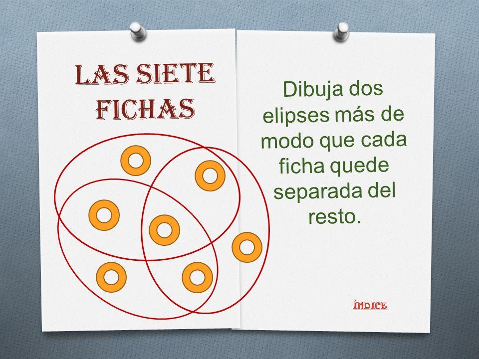 LAS SIETE FICHAS Dibuja dos elipses más de modo que cada ficha quede separada del resto. ÍNDICE