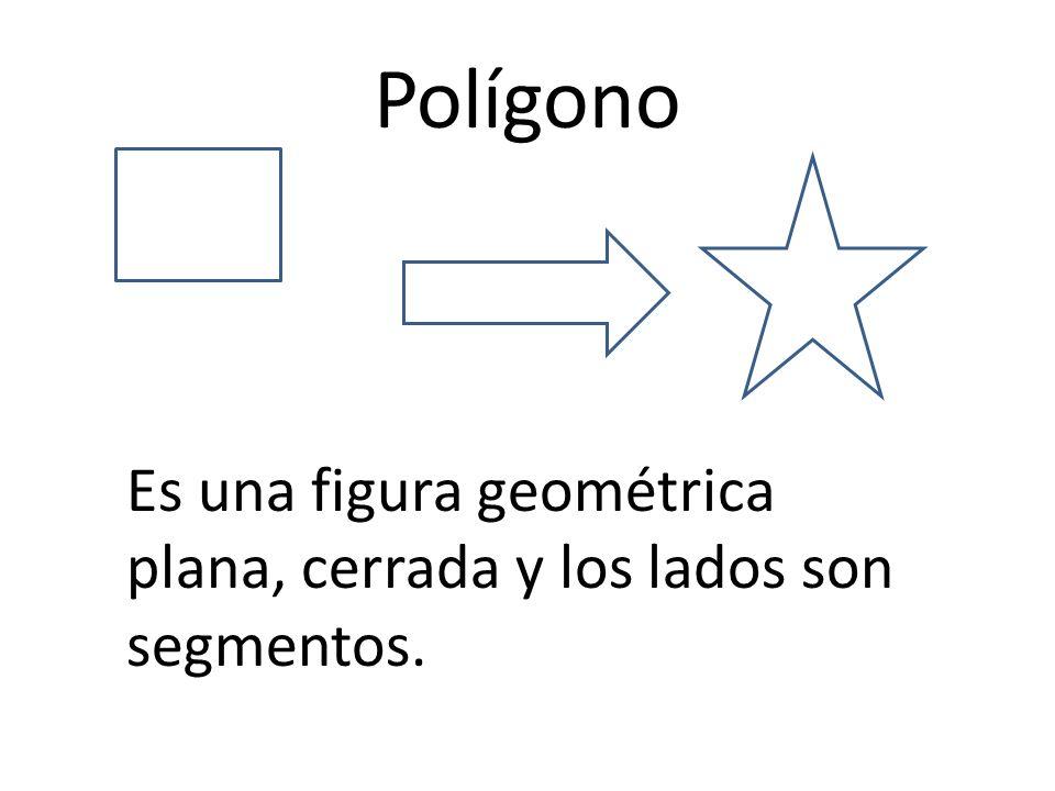 Polígono Es una figura geométrica plana, cerrada y los lados son segmentos.