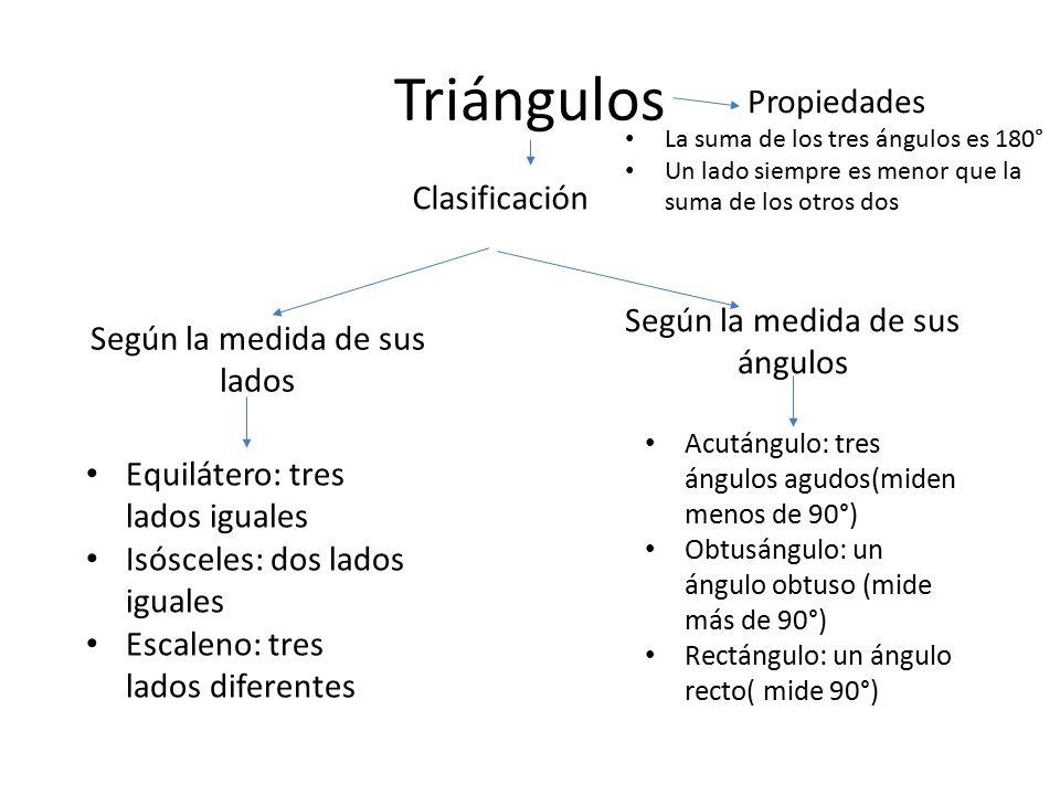 Triángulos Clasificación Según la medida de sus lados Según la medida de sus ángulos Equilátero: tres lados iguales Isósceles: dos lados iguales Escal