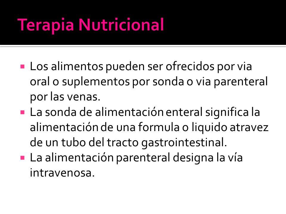 Los alimentos pueden ser ofrecidos por via oral o suplementos por sonda o via parenteral por las venas.