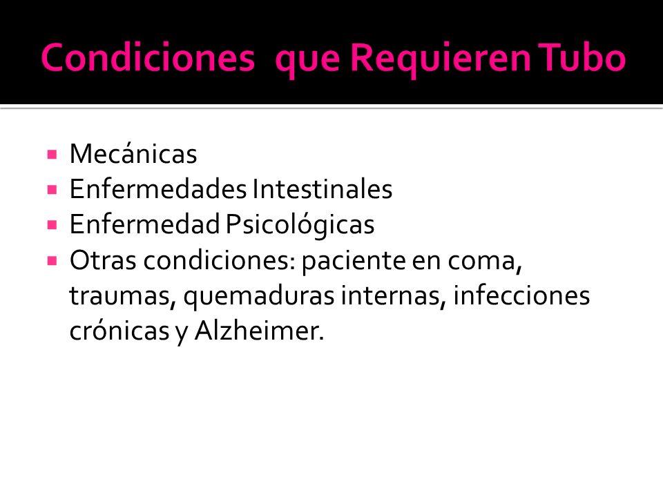  Mecánicas  Enfermedades Intestinales  Enfermedad Psicológicas  Otras condiciones: paciente en coma, traumas, quemaduras internas, infecciones crónicas y Alzheimer.