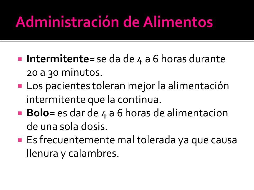  Intermitente= se da de 4 a 6 horas durante 20 a 30 minutos.