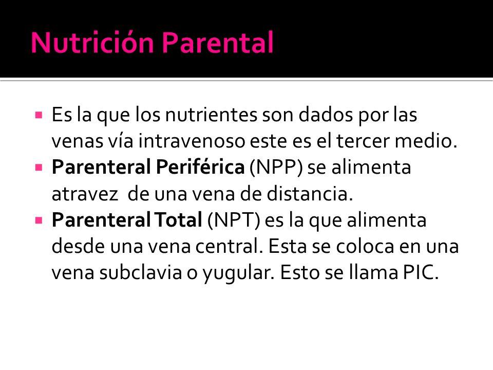  Es la que los nutrientes son dados por las venas vía intravenoso este es el tercer medio.