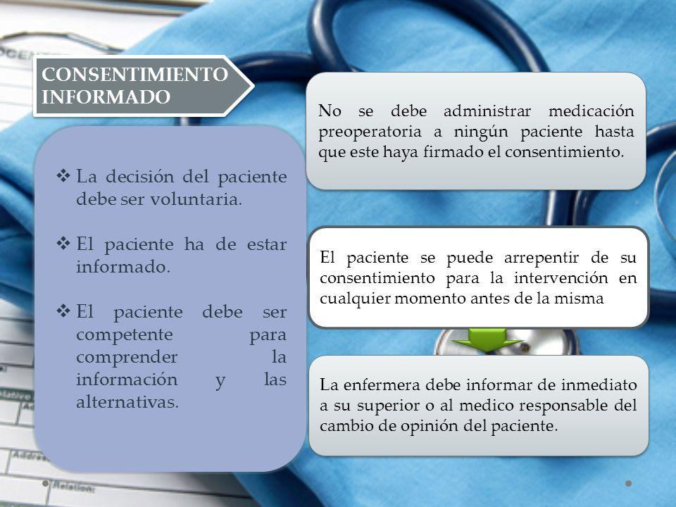 CONSENTIMIENTO INFORMADO  La decisión del paciente debe ser voluntaria.  El paciente ha de estar informado.  El paciente debe ser competente para c