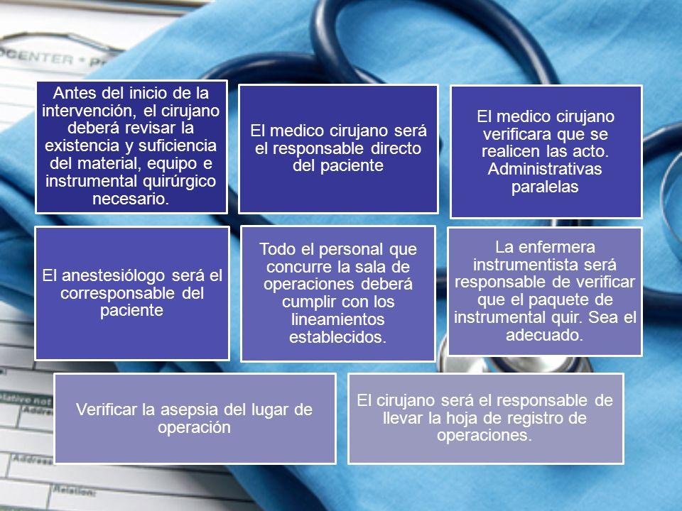 Antes del inicio de la intervención, el cirujano deberá revisar la existencia y suficiencia del material, equipo e instrumental quirúrgico necesario.