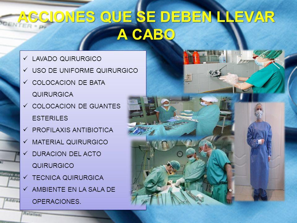 ACCIONES QUE SE DEBEN LLEVAR A CABO LAVADO QUIRURGICO USO DE UNIFORME QUIRURGICO COLOCACION DE BATA QUIRURGICA COLOCACION DE GUANTES ESTERILES PROFILAXIS ANTIBIOTICA MATERIAL QUIRURGICO DURACION DEL ACTO QUIRURGICO TECNICA QUIRURGICA AMBIENTE EN LA SALA DE OPERACIONES.