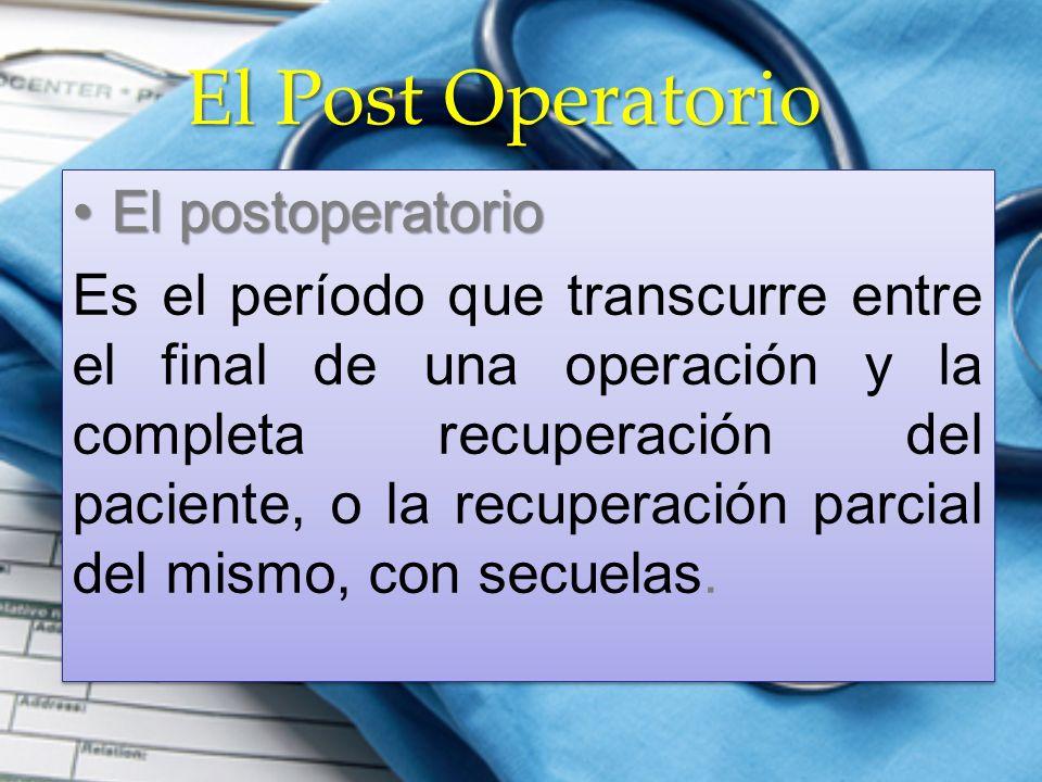 El Post Operatorio El postoperatorioEl postoperatorio Es el período que transcurre entre el final de una operación y la completa recuperación del paci