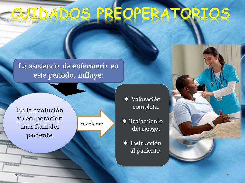 La asistencia de enfermería en este periodo, influye: mediante  Valoración completa.  Tratamiento del riesgo.  Instrucción al paciente.  Valoració