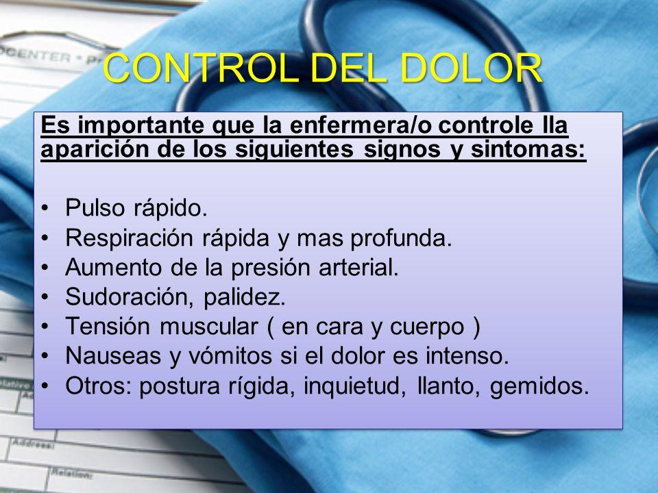 CONTROL DEL DOLOR Es importante que la enfermera/o controle lla aparición de los siguientes signos y sintomas: Pulso rápido. Respiración rápida y mas